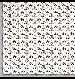 Jersey Motiv Pandafamilie grau weiß Digitaldruck