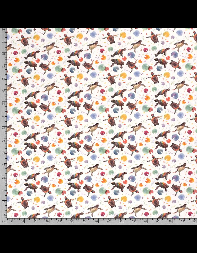 Jersey Motiv Schildkröten bunt grau weiß Digitaldruck