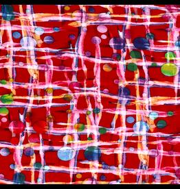 Jersey Motiv Viskose Rot Abstrakt Streifen Punkte bunt