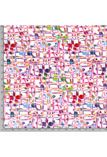 Jersey Motiv Viskose Weiß Abstrakt Streifen Punkte bunt