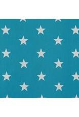 Baumwolle Motiv Sterne türkis weiß