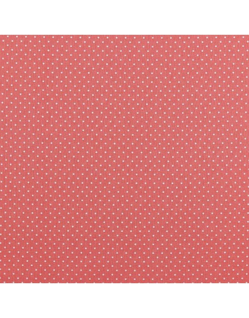 Baumwolle Motiv kleine Punkte coral weiß