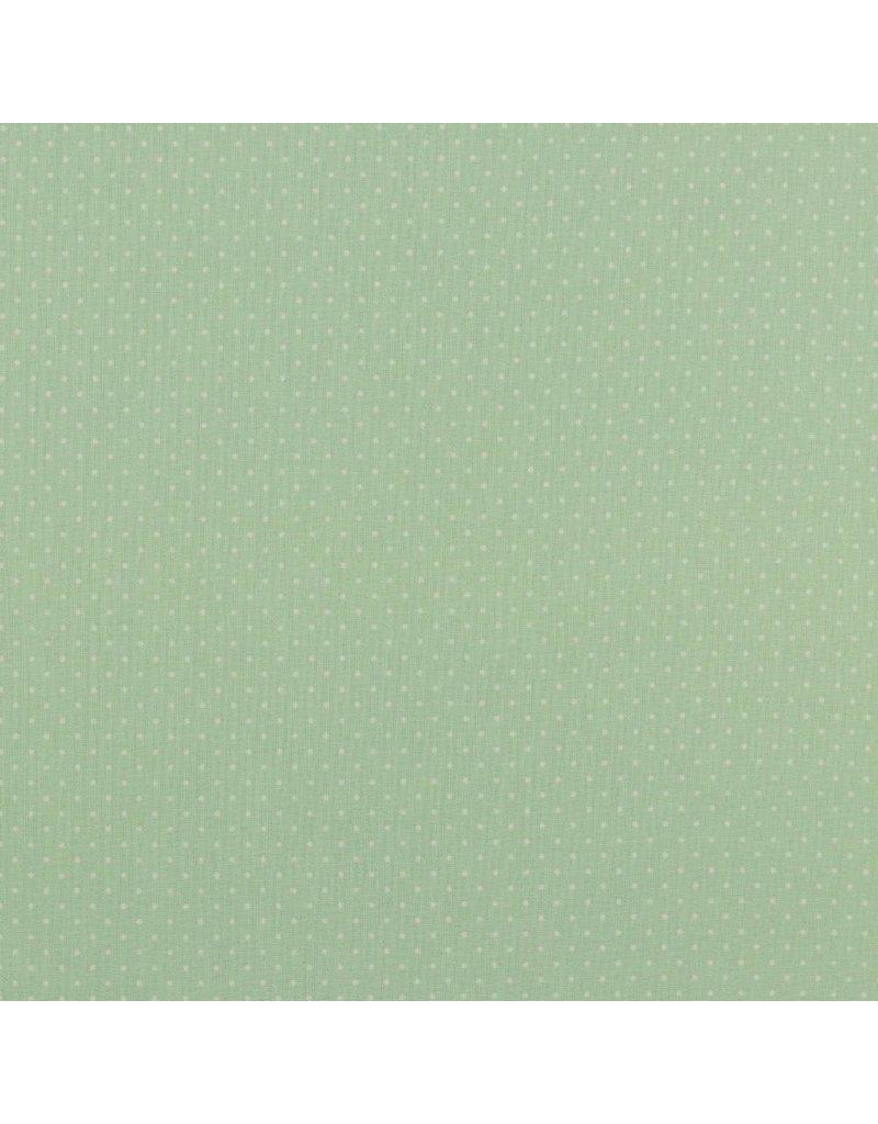 Baumwolle Motiv kleine Punkte mint weiß