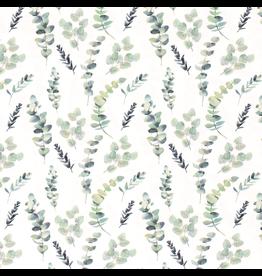 Jersey Motiv Zweige grau weiß grün mint Digitaldruck