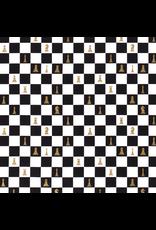 Baumwolle Motiv Schachbrett schwarz gold weiß