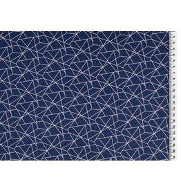 Baumwolle Motiv navy weiß Geometrische Formen