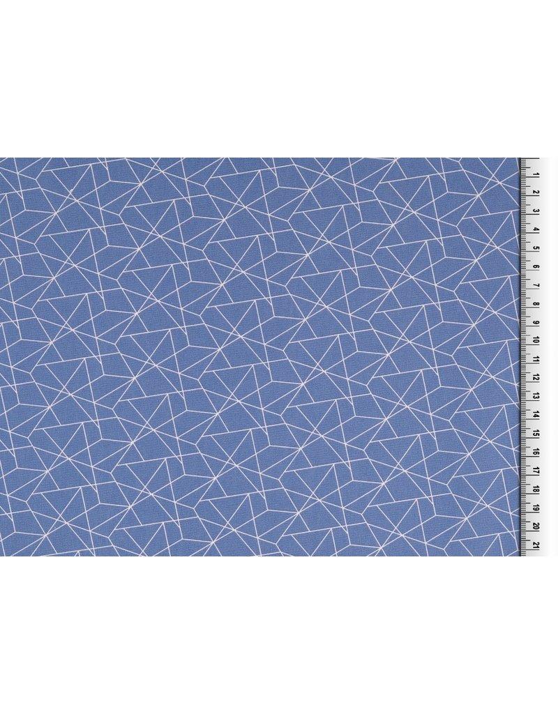 Baumwolle Motiv Jeans blau weiß Geometrische Formen