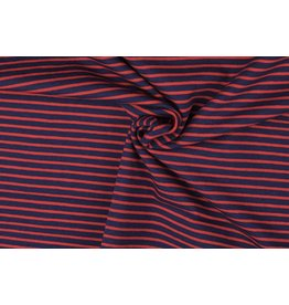 Jersey Motiv Streifen navy 7mm rot 3mm