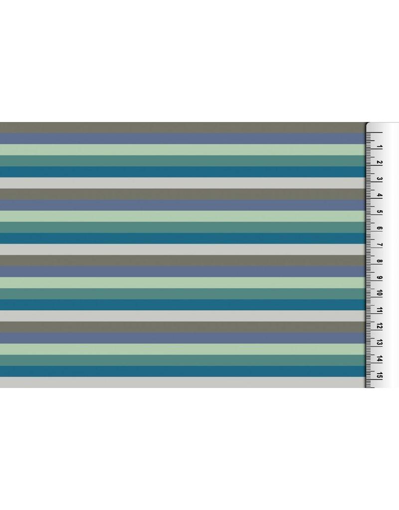 Jersey Motiv Streifen 7mm grau hellgrau petrol blau mint