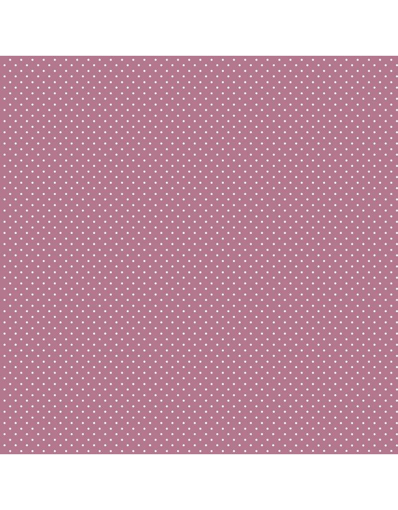 Baumwolle Motiv kleine Punkte mauve weiß