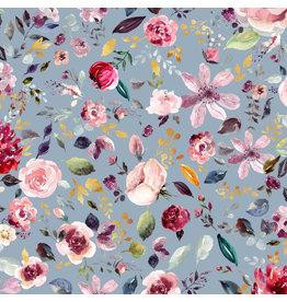 Jersey Motiv Digitalprint Blumen bunt light blue