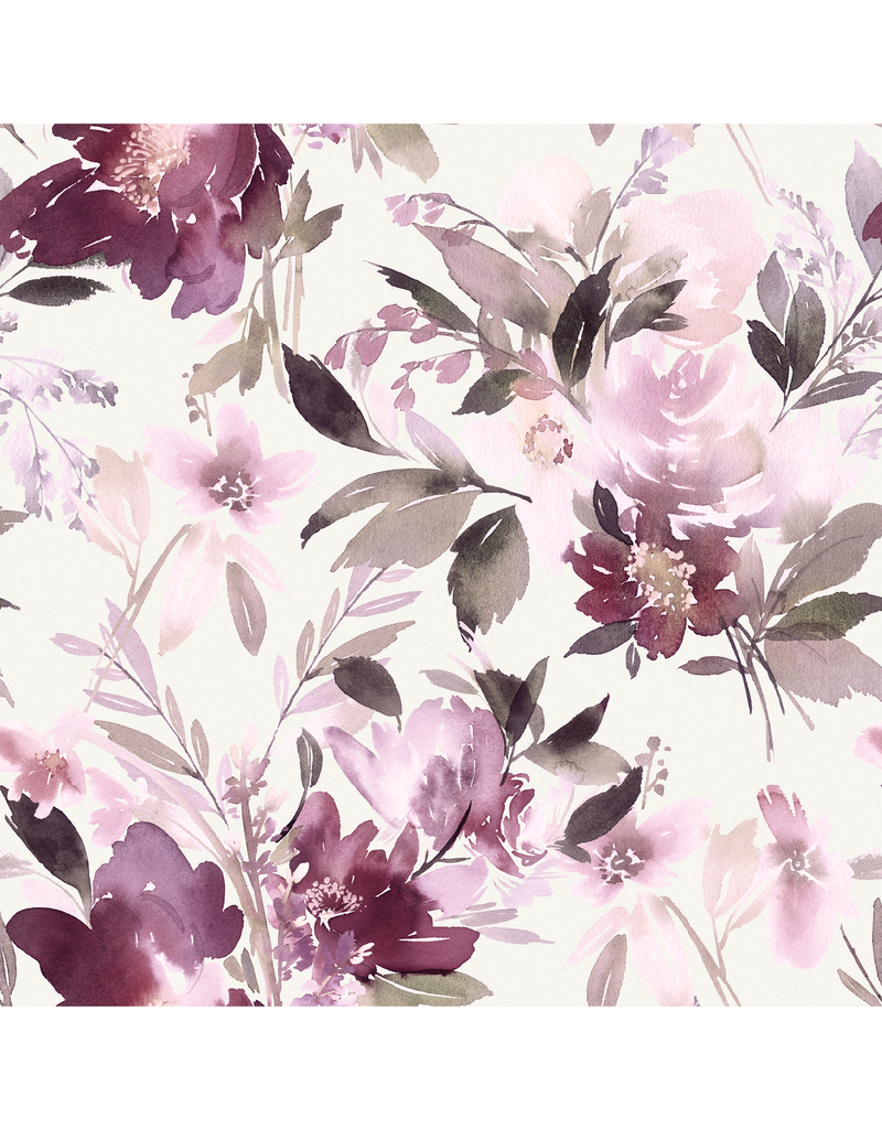 Jersey Motiv Digital Aquarell Flowers beere weiß
