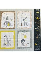 Baumwolle Kurt Frowein Panel Whimsicals Camping Natur Tiere mint grün senf