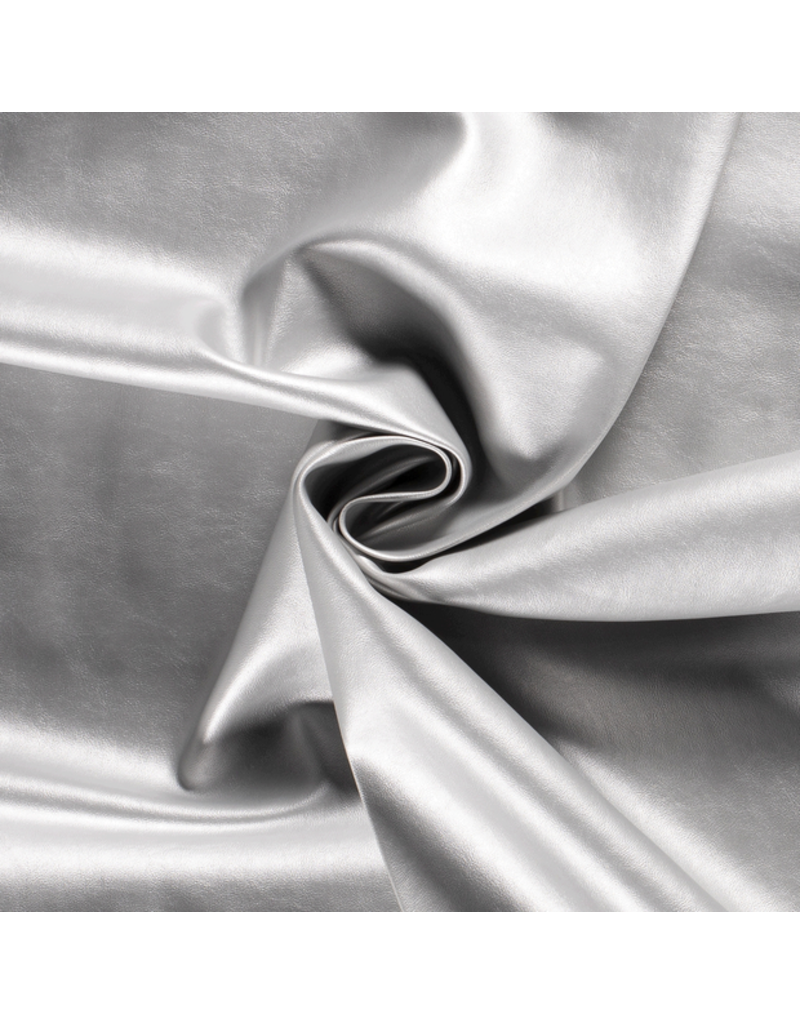Kunstleder Lederimitat silber glänzend