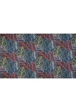 French Terry Sommersweat Organic Leaves navy