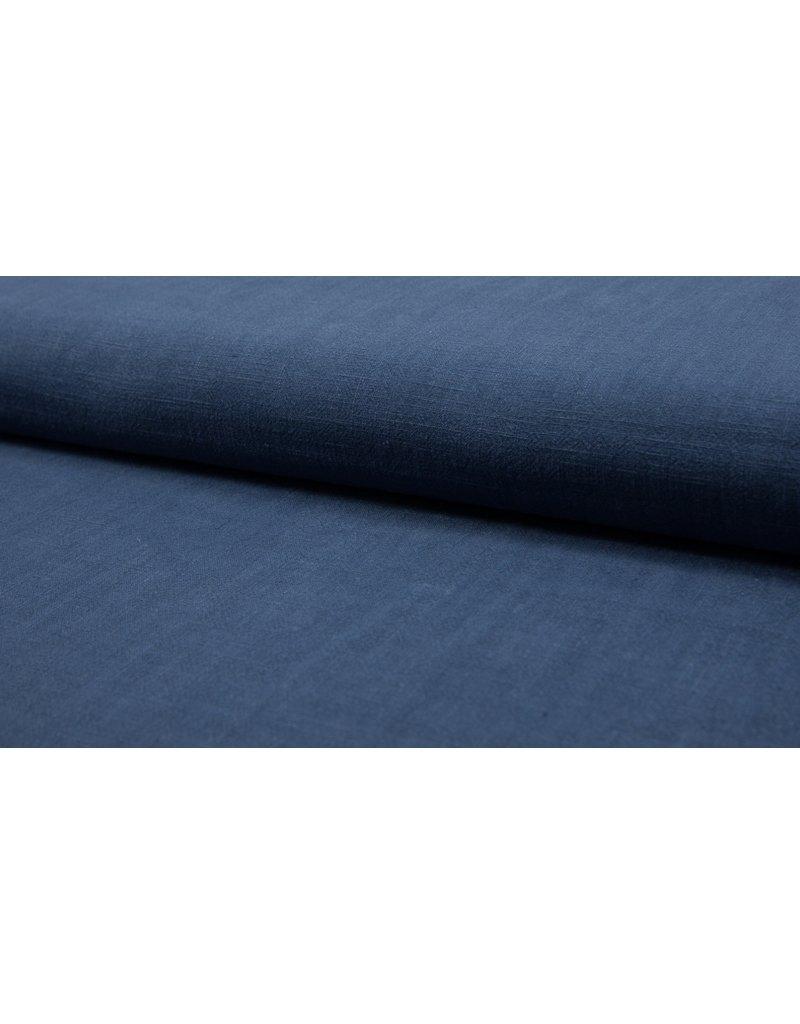 Leinen uni dark jeans blue