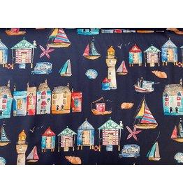 Baumwolle Kurt Frowein Portofino blau Häuser Strandpromenade