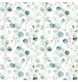 Jersey Motiv GOTs Digital Print Eucalyptus Sprenkel gold