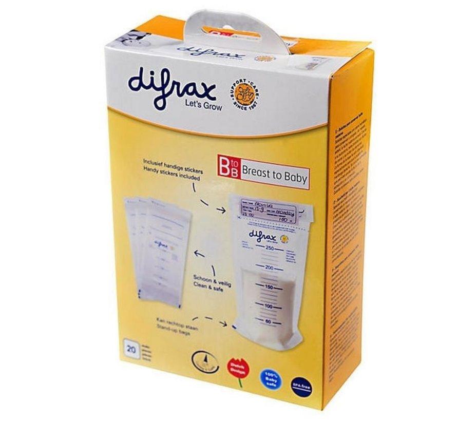 Difrax BtoB moedermelk bewaarzakjes (20 stuks)