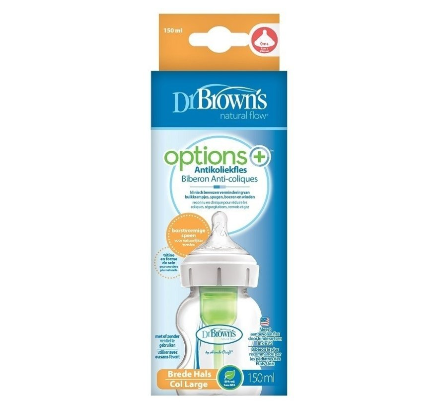Dr. Brown's Options+ Anti-colic Bottle   150 ml (brede hals)