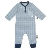 Snoozebaby Snoozebaby Suit LS Hand Stripe Indigo Blue