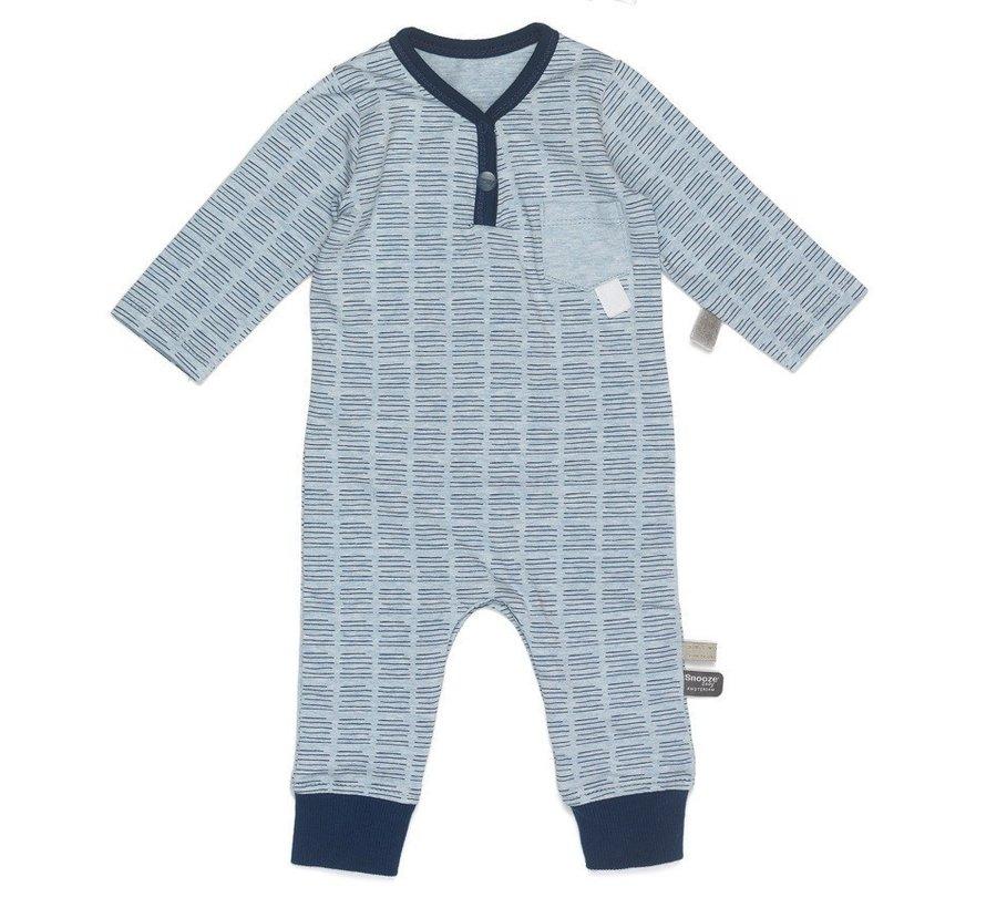 Snoozebaby Suit LS Hand Stripe Indigo Blue
