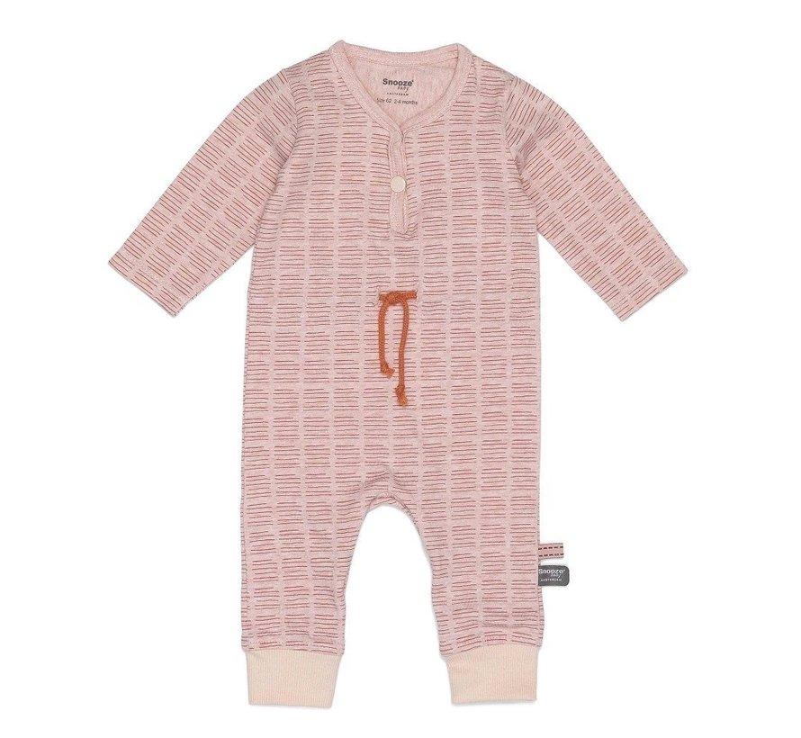 Snoozebaby Suit LS Hand Stripe Poppy Red