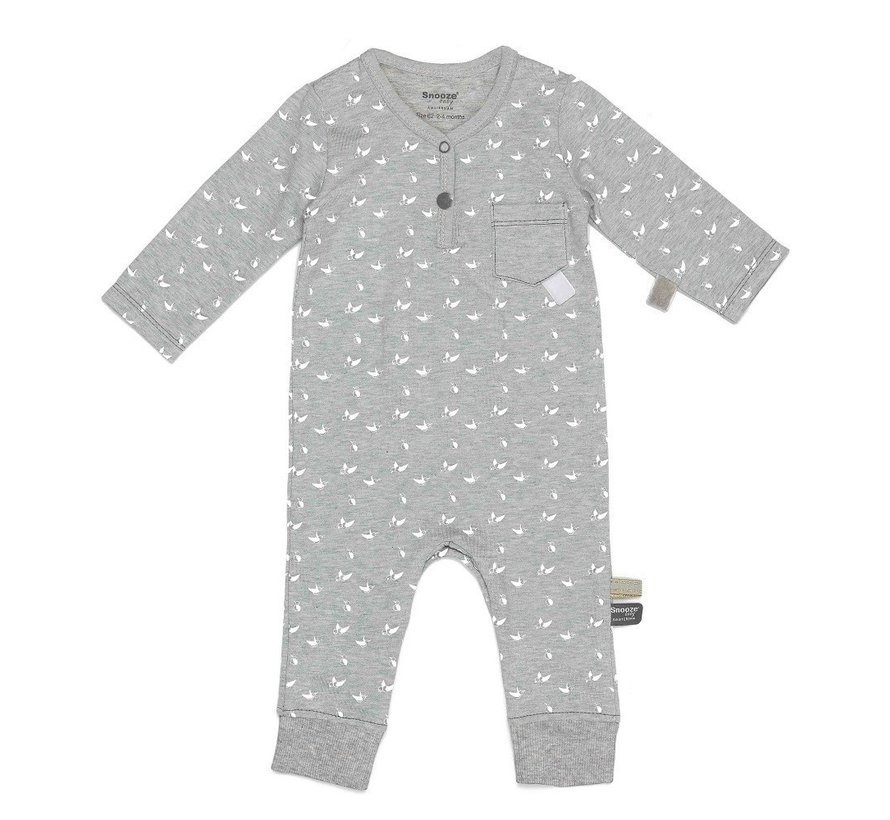 Snoozebaby Suit LS Birds Light Grey