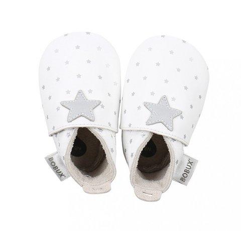 Bobux Bobux Soft Sole babyslofjes | White with Silver Star Print 4324