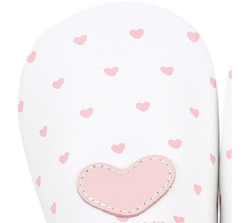 Bobux Bobux Soft Sole babyslofjes | White with Blossom Heart Print 4325