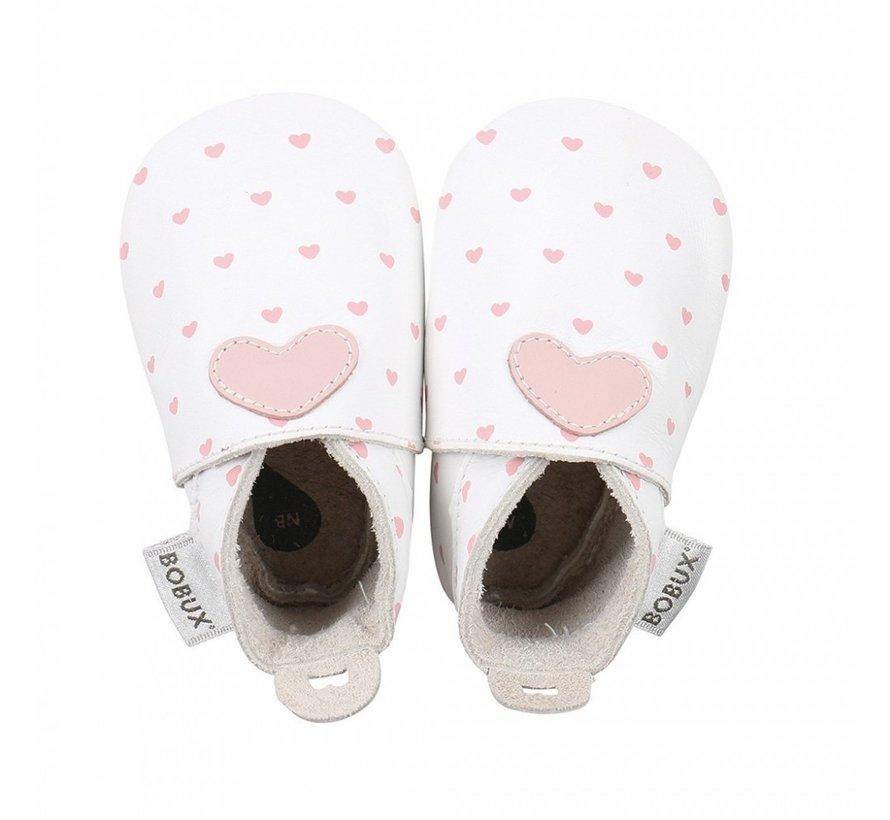 Bobux Soft Sole babyslofjes | White with Blossom Heart Print 4325