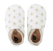 Bobux Bobux Soft Sole babyslofjes | White/Gold Fleur de Lis 4391