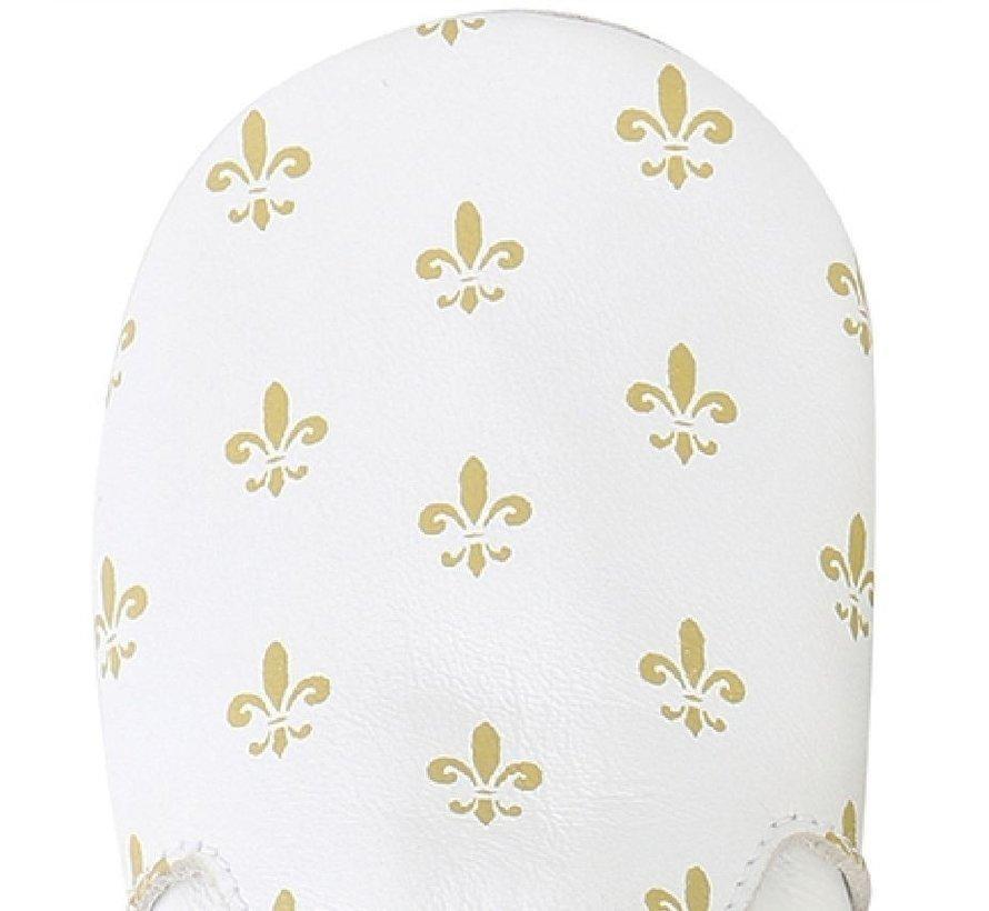 Bobux Soft Sole babyslofjes | White/Gold Fleur de Lis 4391