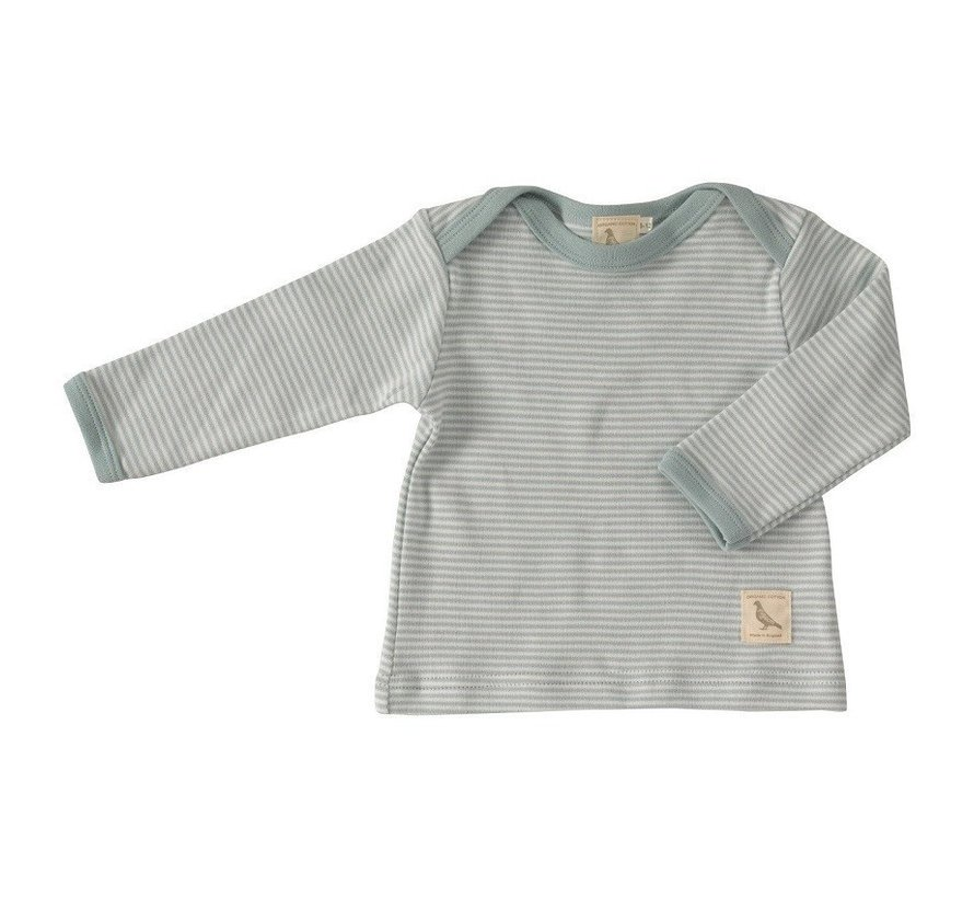 Pigeon Organics | T-shirt dunne Streep Turquoise