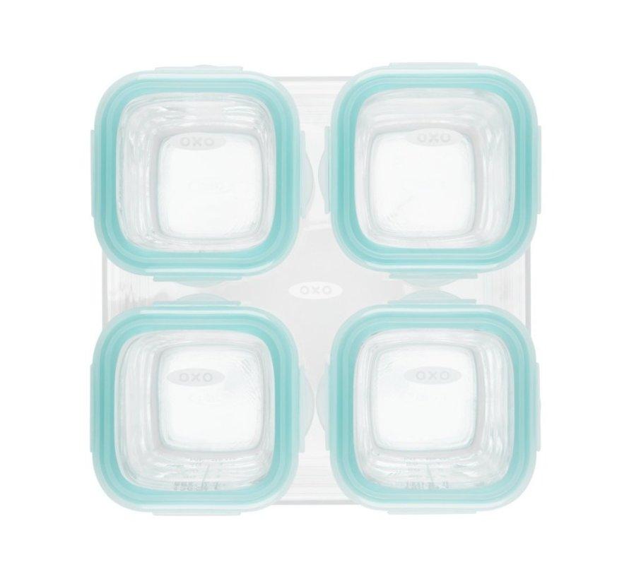 OXO Tot vierdelige set glazen opbergdoosjes 4x120ml