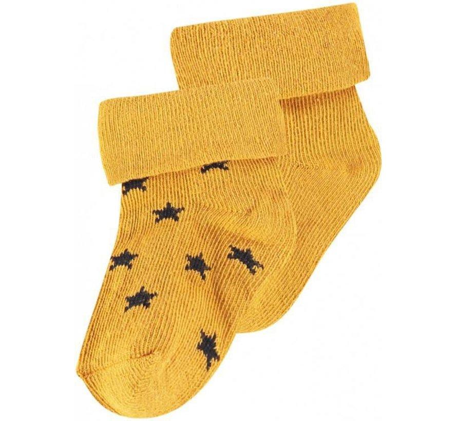 Noppies Babysokken Levi Stars Honey Yellow - 2 paar