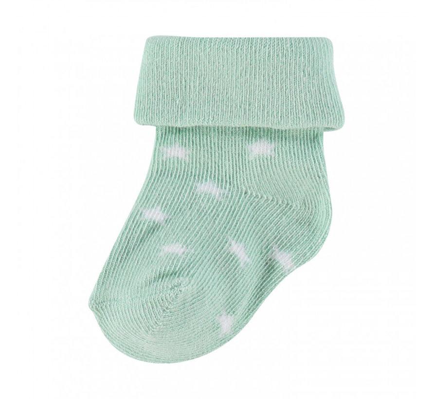 Noppies Babysokken Levi Stars Grey Mint - 2 paar