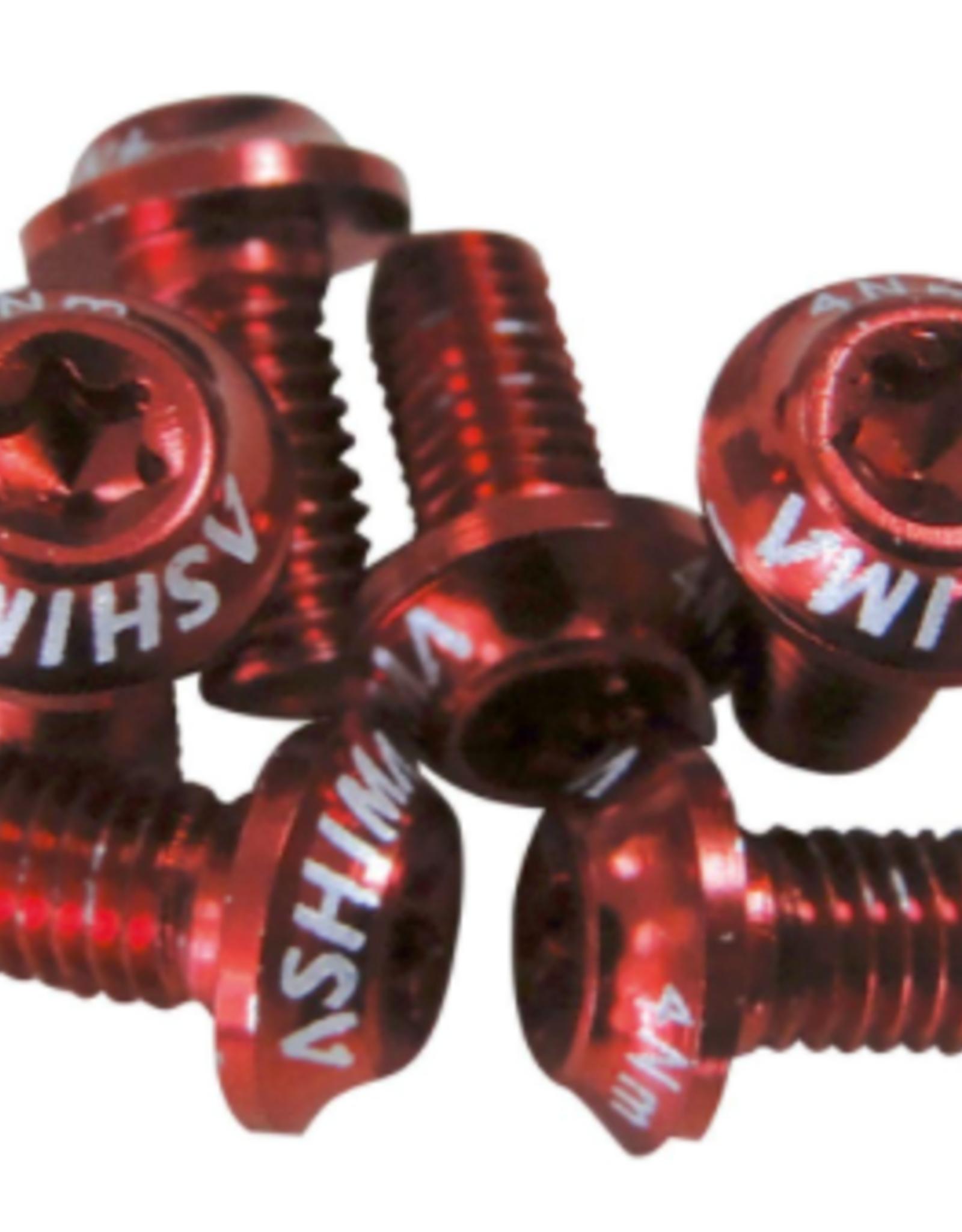 Ashima Disc Rotor Bolts - Red Aluminium 6pk