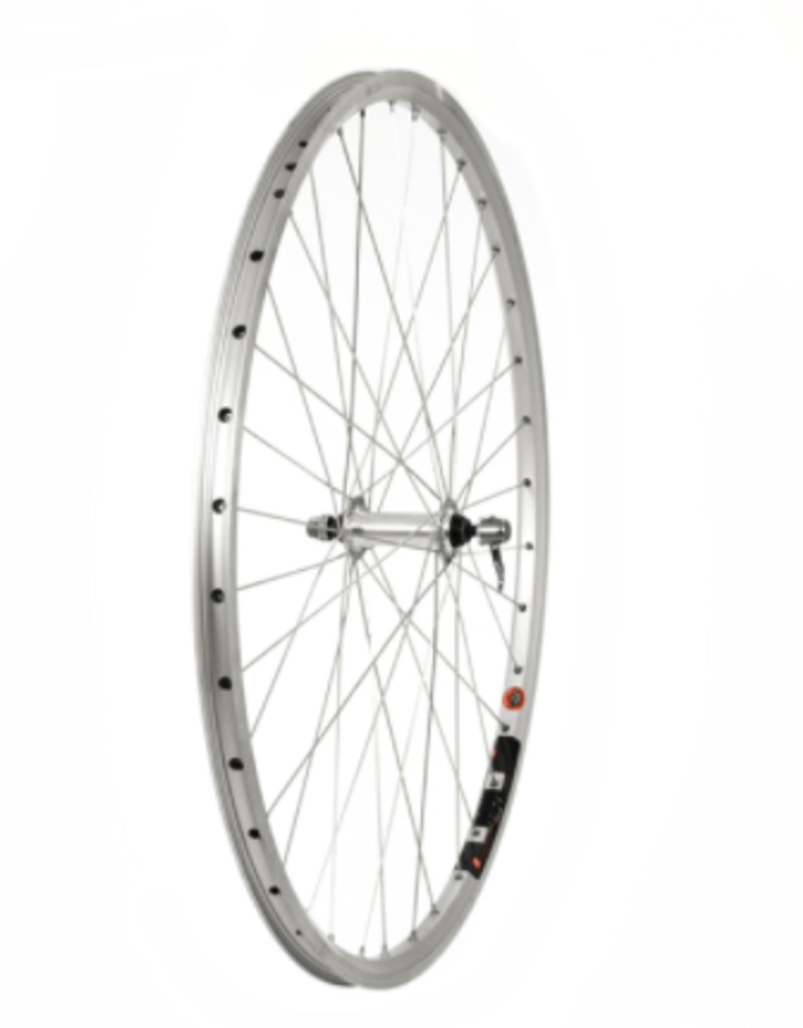 Raleigh 700C Front Trekking Wheel in silver, suitable for most trekking/hybrid bikes.