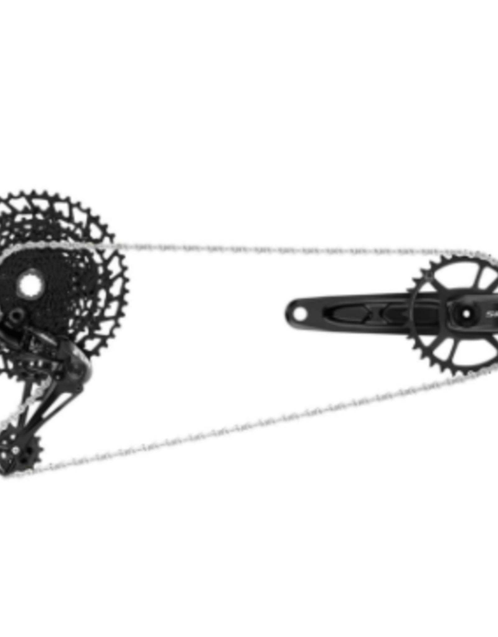 srAM Sram NX Eagle Dub Groupset (Rear Derailleur, Trigger shifter with clamp, Crankset Dub 12s with Direct Mount 32t x-Sync Chainring, Chain 126 Links 12s, Cassette XG-1230 11-50T, Chaingap Gauge): Black 170mm