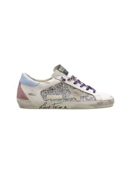 Golden Goose superstar glitter and leather silver/white