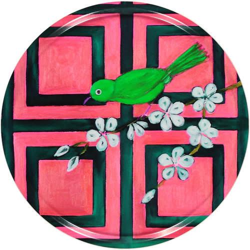Trellis Bird Pink birch wood tray