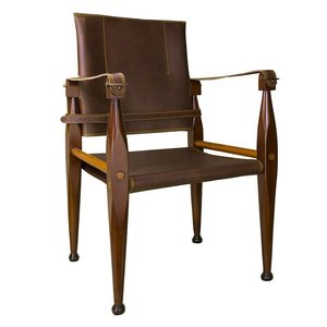 Authentic Models Bridle Leather Campaign Chair - Brown