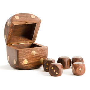 Authentic Models Dice Box With 5 Dices, Brass