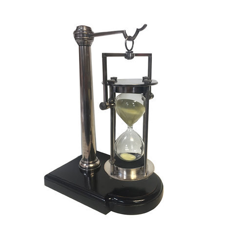 Authentic Models Silver 30 min Hourglass with Stand