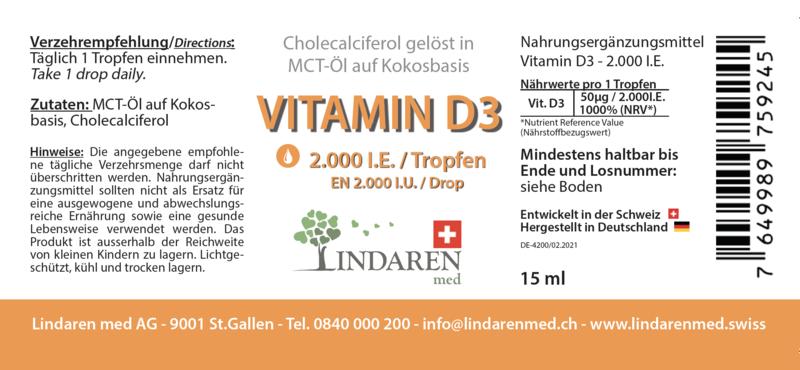 Vitamine D3 dans l'huile MCT à base de noix de coco | 2 000 UI par goutte.