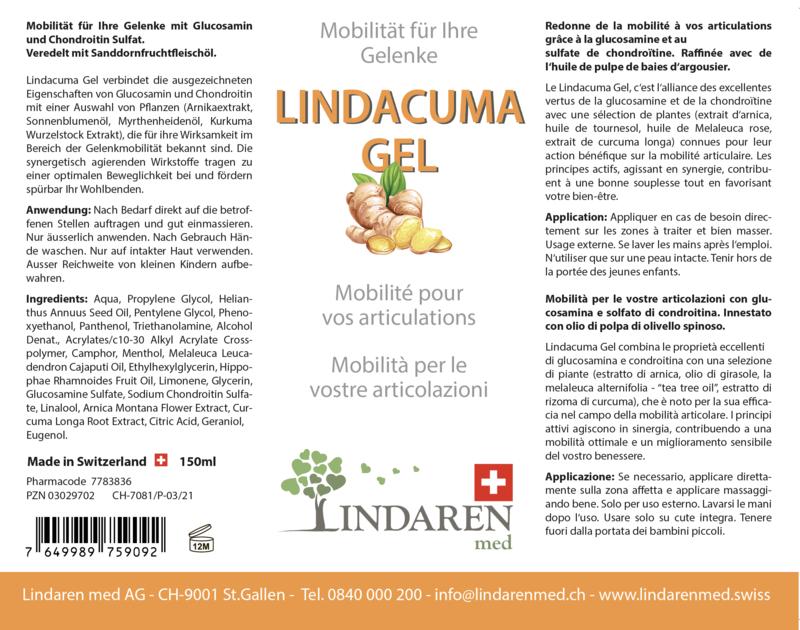 Lindacuma Gel-Extrait de curcuma, glucosamine & chondroïtine