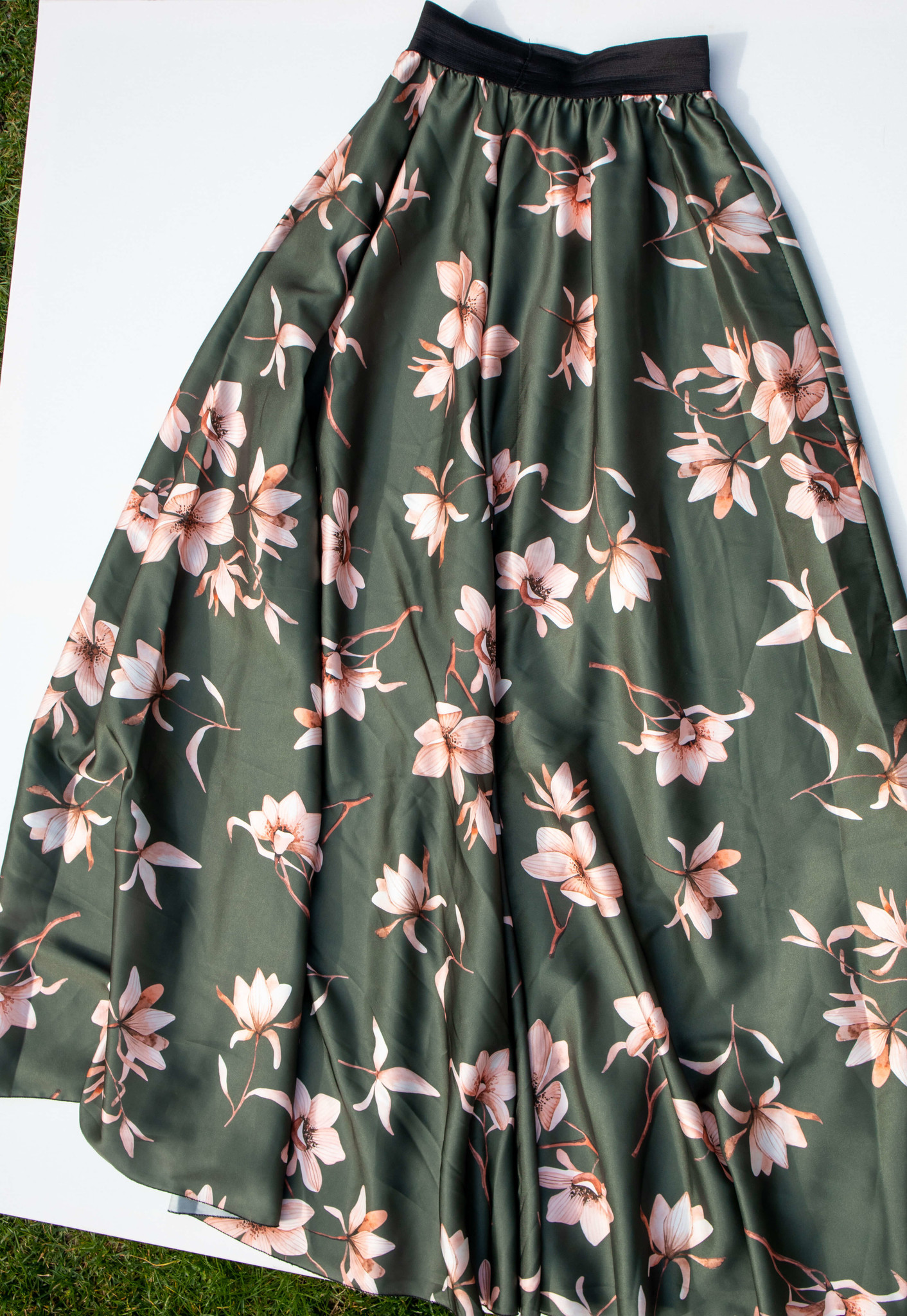 Lange rok met bloemenprint groen