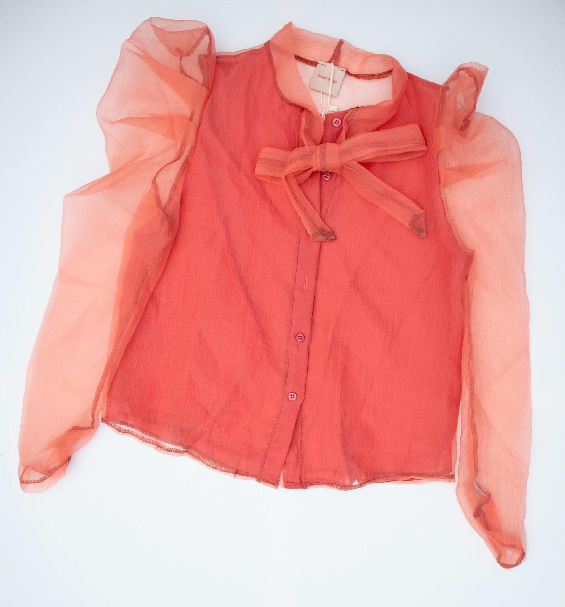 Elegante tule blouse met strik