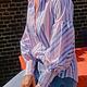 Gestreepte blouse met pofmouw